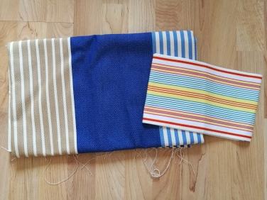 Mes achats : tissu au mètre bleu et beige et tissu à espadrilles